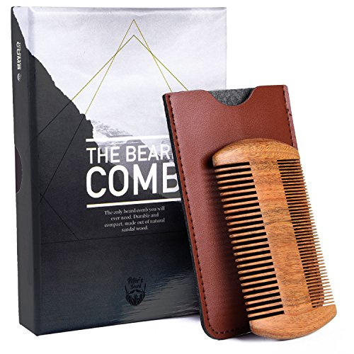 Beard Comb for Men – Wooden Natural Sandalwood Antistatic No Static Dual Action Beard Comb – Fine & Coarse Tooth Perfect for Balms and Oils – Includes PU Leather Case – Presented in Cardboard Gift Box