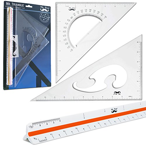 "- Mr. Pen- 3 Pc Large Triangular Ruler Set, Triangular Scale, 11"" 30/60 and 8"" 45/90 Triangles, Architectural Scale Ruler, Architect Triangular Scale, Set Squares, Geometry Ruler, Blueprint Scale Ruler"