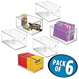 mDesign Stackable Plastic Storage Bin Container, Home Office Desk and Drawer Organizer Tote with Handles for Storing Gel Pens, Erasers, Tape, Pens, Pencils, Markers - 6 Pack, 10'' Long, Clear