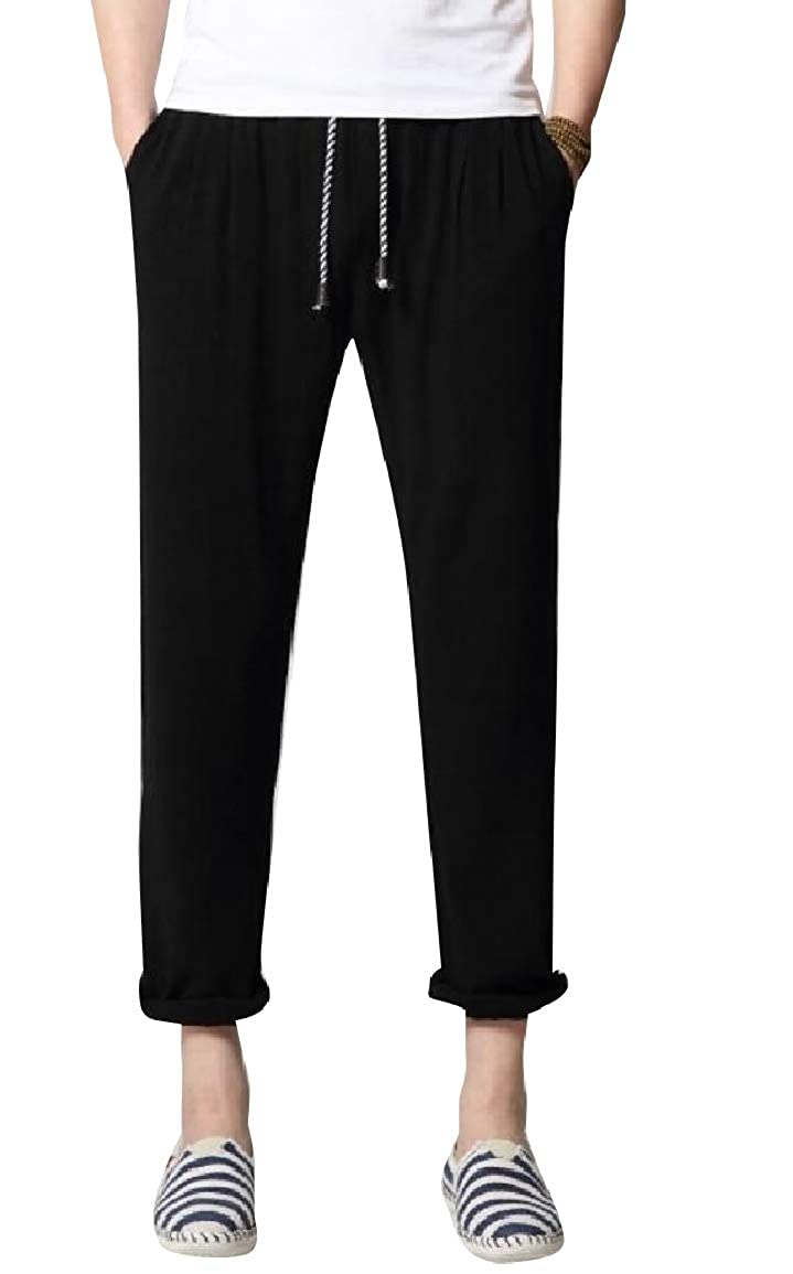Sayah Mens Chinese Style Linen Oversize Solid Color Trousers Pants