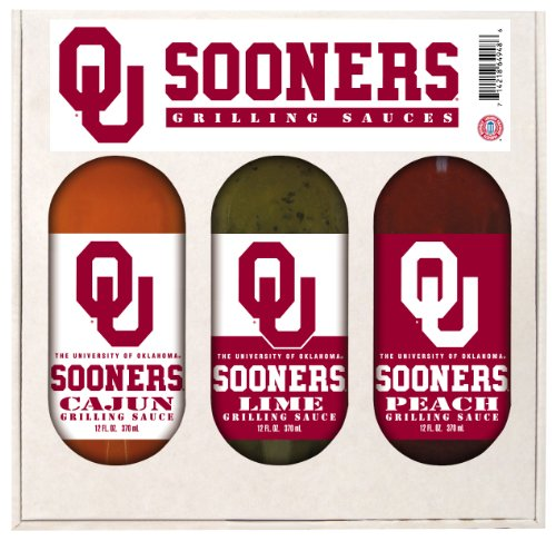 8 Pack OKLAHOMA Sooners Grilling Gift Set 3-12 oz by Hot Sauce Harry's