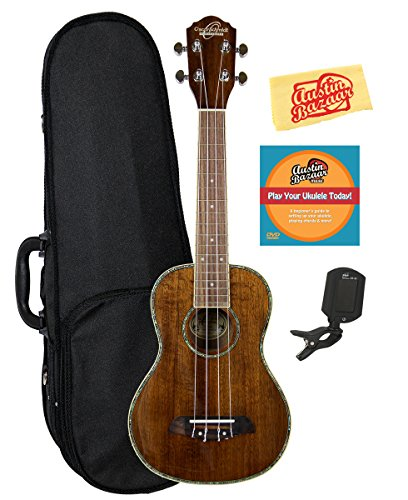 Oscar Schmidt OU5 Koa Concert Ukulele Bundle with Gearlux Case, Austin Bazaar Instructional DVD, Clip-On Tuner, and Polishing Cloth by Oscar Schmidt