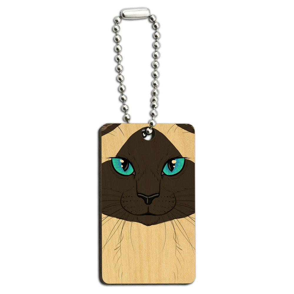 Siamese Cat Face - Pet Kitty Burmese Himalayan Seal Point Wood Wooden Rectangle Key Chain