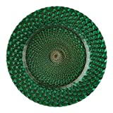 "13"" Luxe Glass Charger Plate Color: Emerald Green"