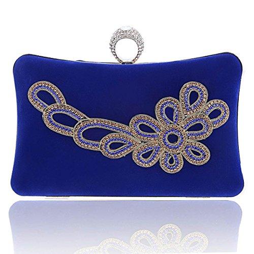 Damara Elegante Caja Dura Mujeres Cartera Embrague Con Hebilla Bolso De Hombro,Azul Azul