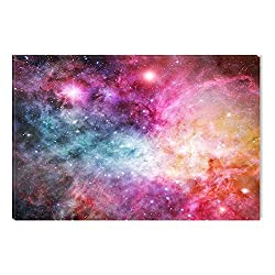 Startonight Canvas Wall Art Pink Nebula Galaxy Abstract Fantasy, Dual View Surprise Artwork Modern Framed Ready to Hang Wall Art 100% Original Art Painting 23.62 X 35.43 inch