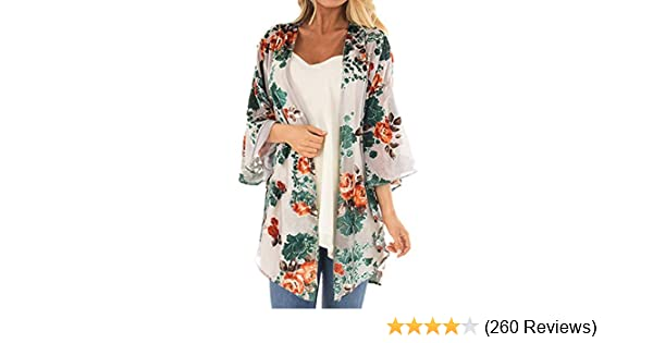 9b78a641e445c Women's Floral Print Puff Sleeve Kimono Cardigan Loose Cover Up Casual  Blouse Tops at Amazon Women's Clothing store:
