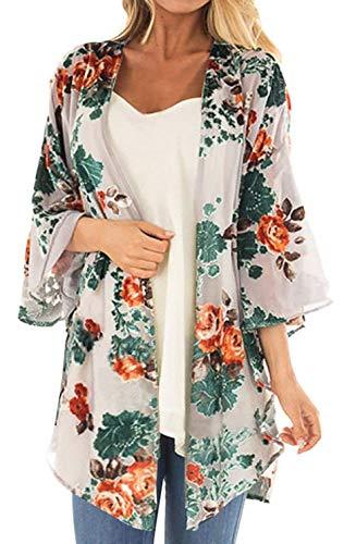 Women's Floral Print Short Sleeve Shawl Chiffon Kimono Cardigan Casual Blouse Tops(Apricot L)