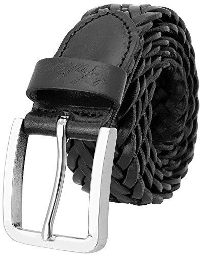 Genuine Leather Braided Belt - Falari Men's Braided Belt Genuine Leather 35mm 9007-BLACK-L