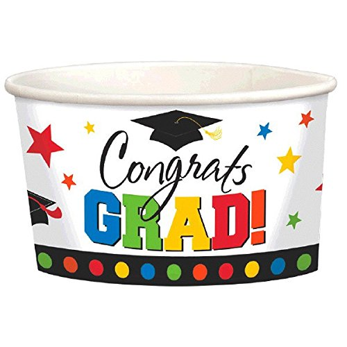 Congrats Grad! Graduation Party Paper Treat Cups Tableware, 8 Pieces,  Paper, Multicolor, 9 oz. by Amscan