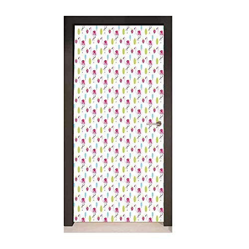 Raspberry Brandy - Flamingo Decor Door Mural Cheerful Exotic Summer Holiday Pattern Cartoon Ice Cream Raspberry Palm Leaves for Home Decor Multicolor,W23.6xH78.7