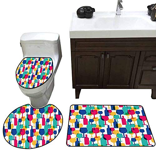 3 Piece Extended Bath mat Set Winery Decor Collection Cocktail Glass and Wine Bottle Pattern Bar Menu Party Alcohol Drinks Festive Image 3 Piece Shower Mat Set Magenta Navy]()