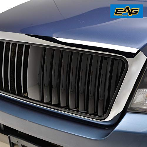 EAG Replacement Upper Grille ABS Black Vertical Bar with Chrome Shell Fit for 04-08 Ford F-150