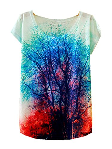 Yichun Mince Tees Femmes Filles Tops Loisirs T-shirt Cami Tunique Trendy Blouse Casual Wear Imprimé Arbre Chemise Mode 9 #