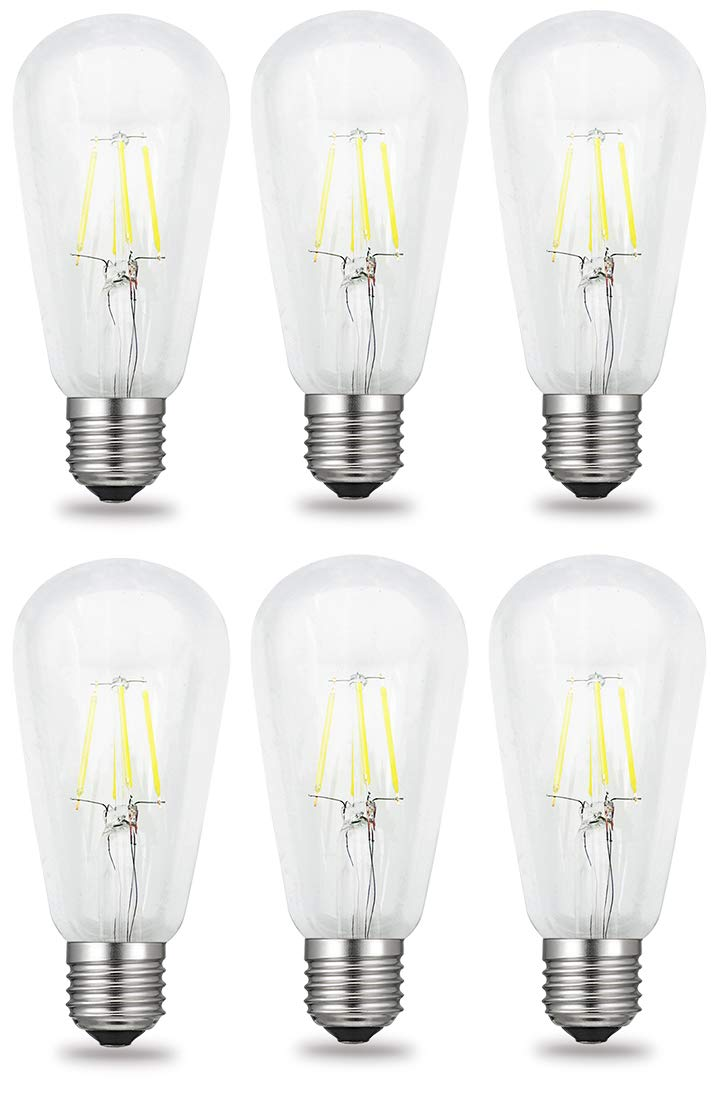iRotYi Cool White 6500 Kelvin 400LM Dimmable 4W AC 120V LED Filament Light Clear Glass Bulbs ST64 E26 Base Lamp 6-Pack 40W Incandescent Bulbs Replacement