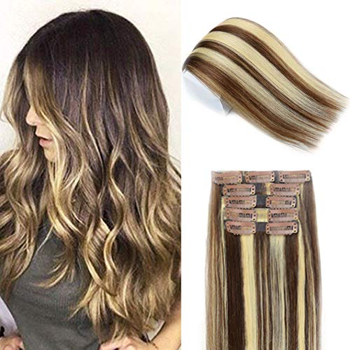 JQ beauty Clip in Human Hair Extensions Remy Hair Silky Straight Two Tone Piano Color Dark Brown with Bleach Light Blonde 5 Pieces 100g #4/613(45CM) 18 Inches