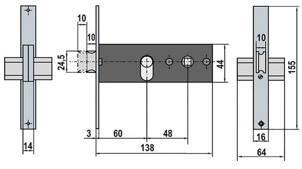0 W Lince 3017035 Cerradura 5557 Inoxidable // 70 mm 0 V Cromo,