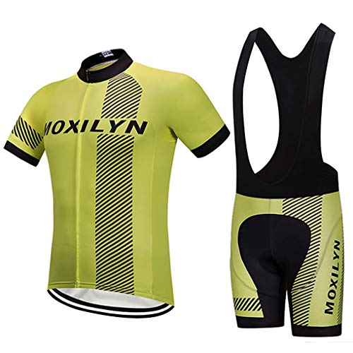 Men's Quick-Dry Cycling Jersey Set Road Bike Bicycle Shirt + Bib Shorts with 9D Gel Padded MTB Riding Clothing kit from Moxilyn