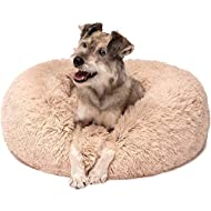 Friends Forever Calming Bed for Dogs, Donut Dog Bed for Pet Comfy, Marshmallow Cat Beds - Tan 30 X 30 Inch