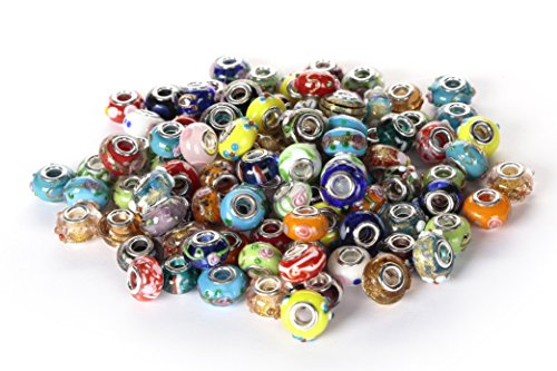 BRCbeads Top Quality 100Pcs Mix Silver Plate STYLE4 Murano Lampwork European Glass Crystal Charms Beads Spacers Fit Troll Chamilia Carlo Biagi Zable Snake Chain Charm Bracelets. -
