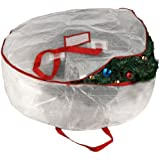 """Elf Stor Deluxe White Holiday Christmas Wreath Storage Bag For 30"""" Wreaths"""