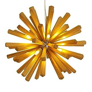 Moderno Lampada a sospensione Legna Paralume Luce pendente per Isola della cucina Tavolo della sala da pranzo Studia Soggiorno Corridoio Illuminazione Lampadario Regolabile in altezza (Ø72cm / G9*10)