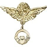 14kt Yellow Gold Baby Badge with Claddagh Charm and Angel w/Wings Badge Pin 1 X 1 1/8 inches