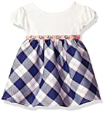 Youngland Baby Girls' Lace Bodice Sparkle Plaid Dress, Ivory/Blue, 24M