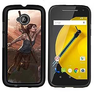 Qstar Arte & diseño plástico duro Fundas Cover Cubre Hard Case Cover para Motorola Moto E2 E2nd Gen (Lara Cr0ft)