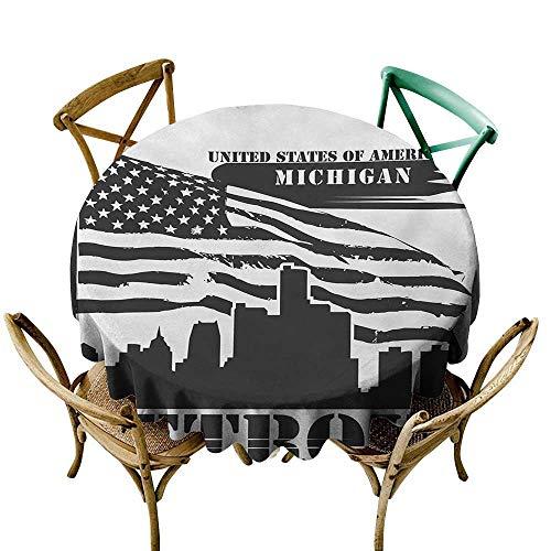 round vinyl tablecloth 54 inch Detroit,Monochrome Grunge City