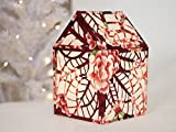 TEXTILECRAFT Poinsettia Decorative Illuminated House Lantern with Interior USB rechargeable LED