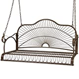 Best Choice Products Outdoor Patio Hanging Iron Porch Swing Chair Bench Seat w/Straight Armrests – Brown