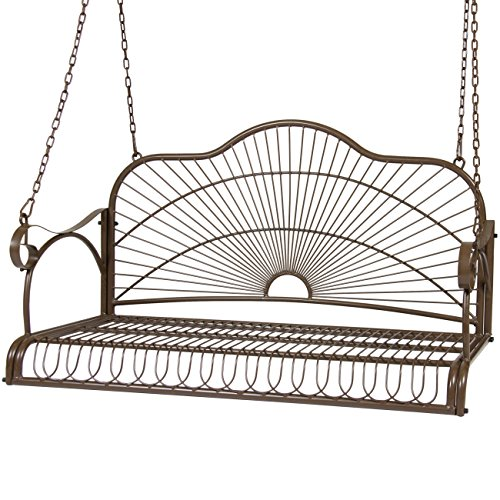 Best Choice Products Outdoor Hanging Iron Porch Swing Patio Bench w/Armrests and 4 Included Chains, Brown