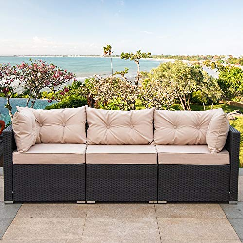 Amolife 3 Pieces Patio PE Rattan Sofa Set Outdoor Sectional Furniture Wicker Chair Conversation Set with Cushions