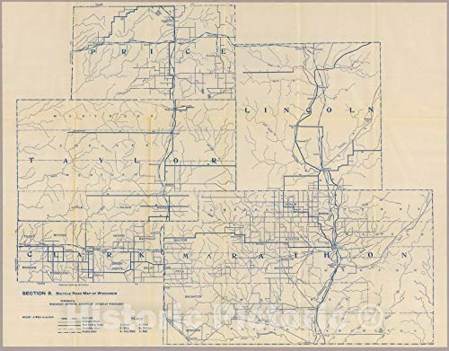 Historic Map | Section 9. Bicycle Road Map of Wisconsin, 1897 | Vintage Wall Art | 30in x 24in
