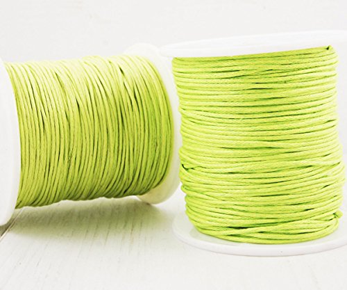 18.3m 60ft 20yrd Lawn Green Waxed Cotton Cord Decorative Beading String Braided Twisted Rope Shamballa Bracelet Twine 1mm .039in (Rope Shamballa)