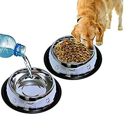 Mr. Peanut's Set of 2 Etched Stainless Steel Dog Bowls, 32oz Dry Weight * Easy to Clean & Bacteria Resistant * Rust Proof with Non-Skid Natural Rubber Edge * Beautiful Feeding Bowls for Dogs & Cats