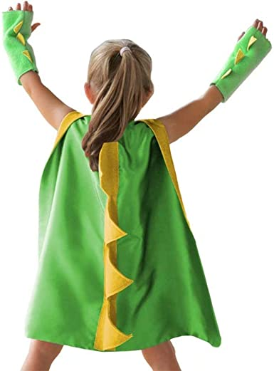 Dinosaur Dragon Cape and Gauntlets Halloween Costume Boy Girl Toddler Dress Up Clothes 3-8 Years Old