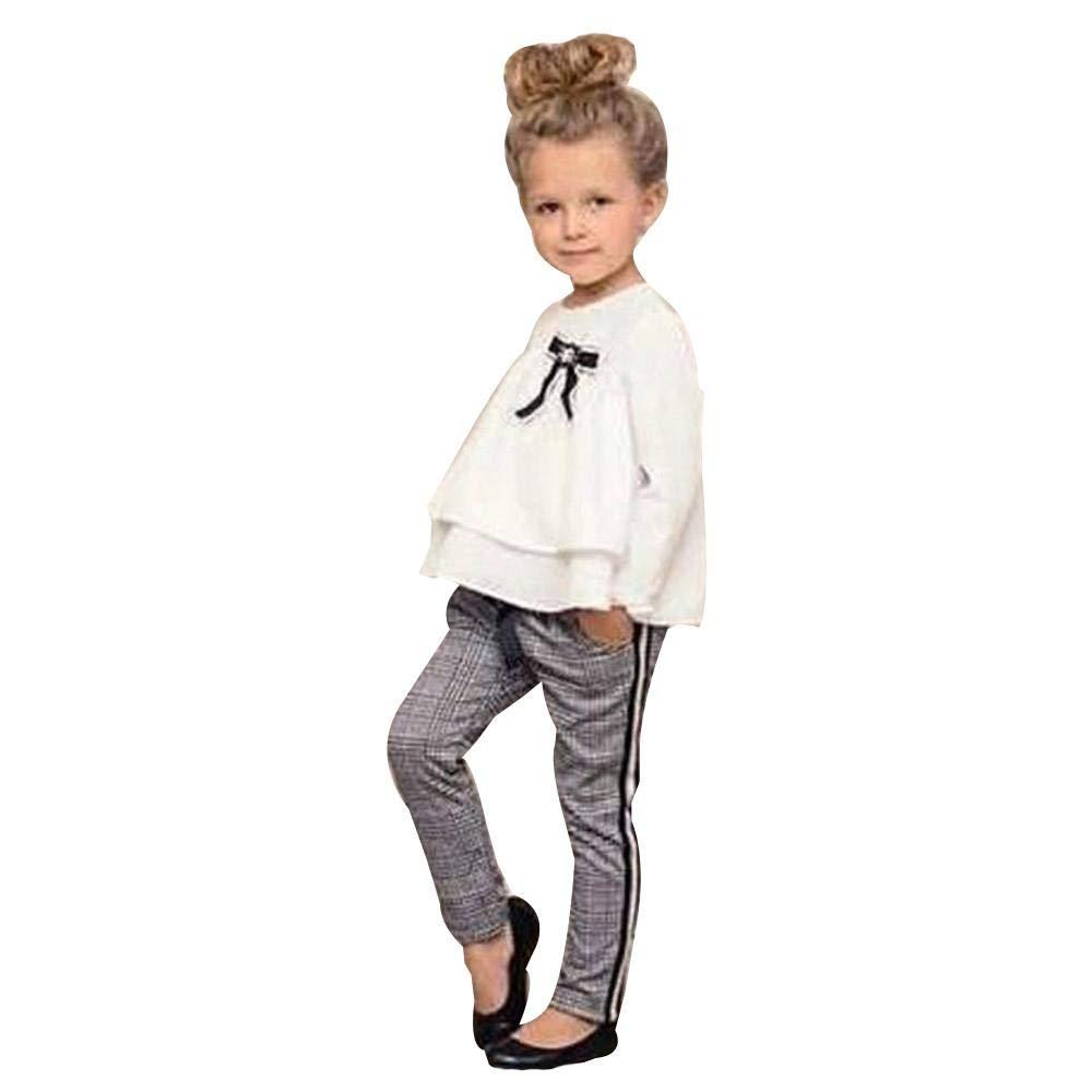 Mbby Tuta Bambino Scuola, 2-6 Anni Completino Bambino Ragazza 2 Pezzi Tute in Cotone Invernale Autunno Maglietta con Arco + Pantaloni Set Caldo Manica Lunga Leggera Antivento