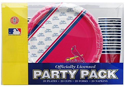 St Louis Cardinals Disposable Paper Plates - Napkins - Cups - Forks 80 Piece Party -