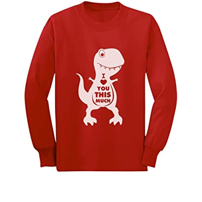 Tstars Valentine's Day I Love You This Much T-Rex Toddler/Kids Long Sleeve T-Shirt