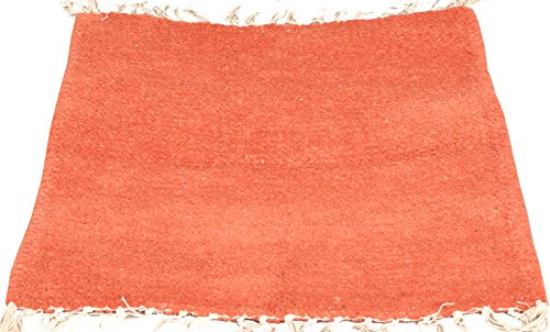 Plain Meditation Aasan from Mirzapur with All-Over Weave - Wool - Color Ginger Orange Color by Exotic India
