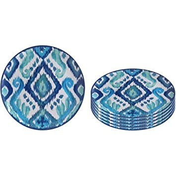Better Homes and Gardens Melamine Ikat Dinner Plate 6pk Blue  sc 1 st  Amazon.com & Amazon.com | Better Homes and Gardens Melamine Ikat Dinner Plate 6pk ...
