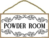 powder room ideas Honey Dew Gifts White Powder Room Sign - 5 x 10 inch Hanging, Wall Art, Decorative Wood Sign for Home, Office, or Commercial Bathrooms