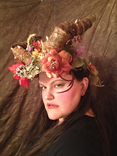 Beltane Fairy Headdress, pagan moon crown, May Queen Maypole magic, Woodland Elven flower headpiece, horned shaman costume, forest fae wear by crooked crow masks