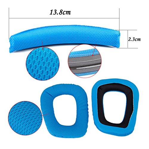 Life VC ® Blue Logitech G35 G930 F450 Headphones Replacement Headband Earpads Cushion Set