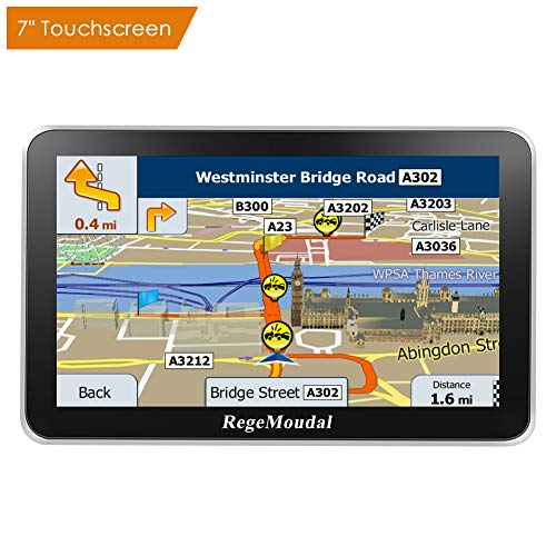 RegeMoudal Car GPS Navigation System Sat Nav Vehicle 7'' 8G Memory Stereo Portable Navigator Touch Screen Multimedia Pre-Installed US Lifetime Maps Free Update Driver Alerts USB Cable Car Charger Mount by RegeMoudal