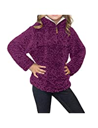 Ytwysj Girls Kids Long Sleeve 1/4 Zipper Casual Loose Luxe Fuzzy Pullover Sherpa Girl Sweatshirt Warm Winter Coat Outwear