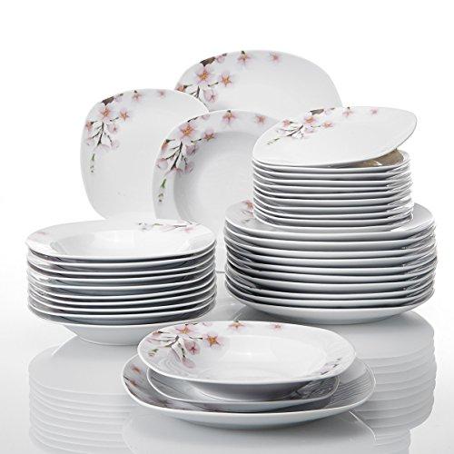 VEWEET 36-Piece Porcelain Dinnerware Sets Ceramic Plate Sets