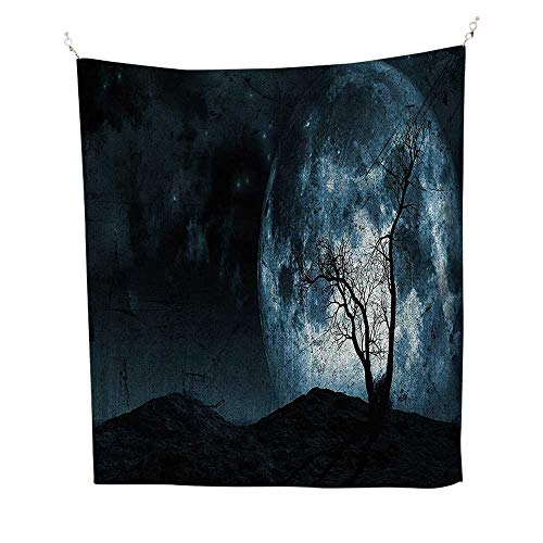 Home Decor (70W x 93L INCH Tapestry Wall Hanging Art Living Room Bedroom Dorm Home DecorFantasy Night Moon Sky Tree Silhouette Gothic Halloween Colors Scary Artsy Background Slate -
